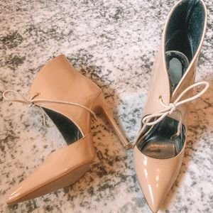 Nude Cut Out Point Toe Statement Heels